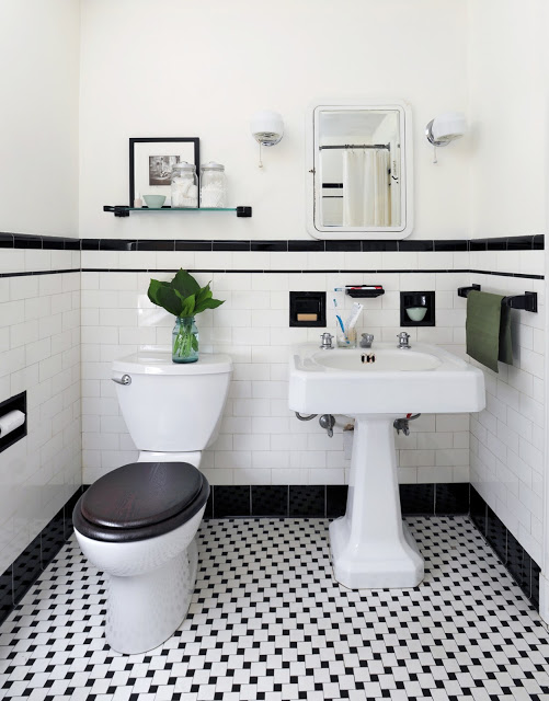 Black and white bathroom tile